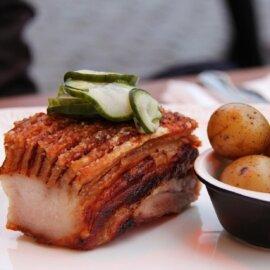 Panceta de porco feita no sous vide